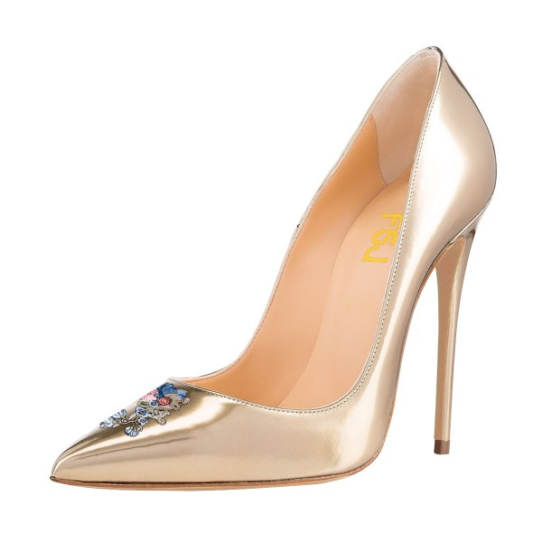 Women's Nude 4 Inch Heels Pointy Toe Pumps Stiletto Heels Shoes image 1