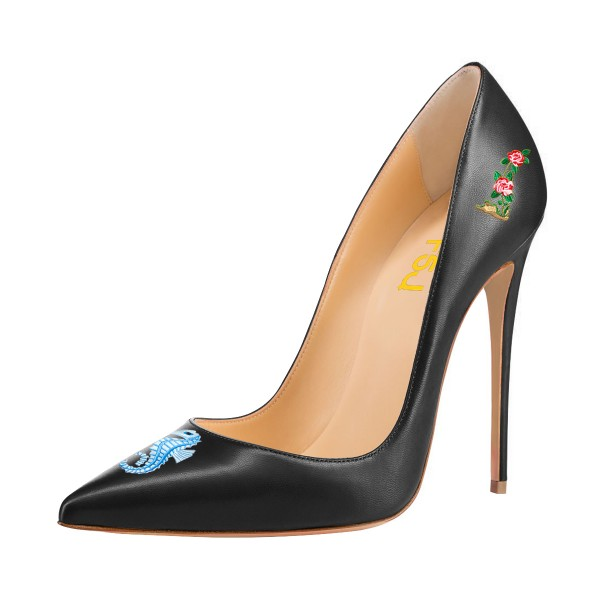 Women's Black Formal Printed Pointy Toe Pumps Stiletto Heels Shoes image 1