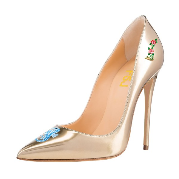Women's Nude Formal Printed Pointy Toe Pumps Stiletto Heels Shoes image 1
