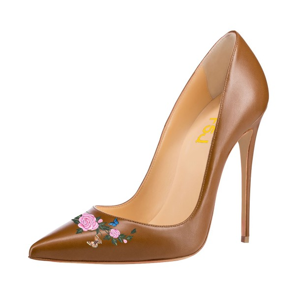 Women's Brown Pointy Toe Stiletto Heels Pumps Dress Shoes  image 1