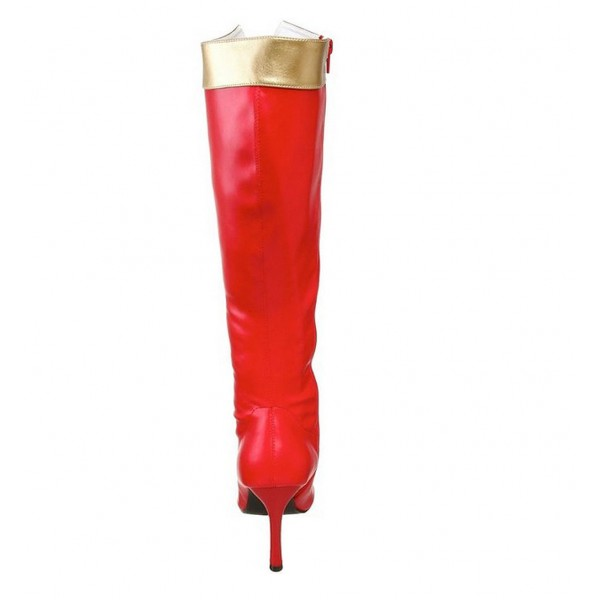Wonder Women Red&Golden Patent Leather Stiletto Heels Knee-high Boots for Halloween image 2