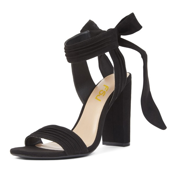 Suede Block Heel Sandals Black Open Toe High Heels with Bow image 1