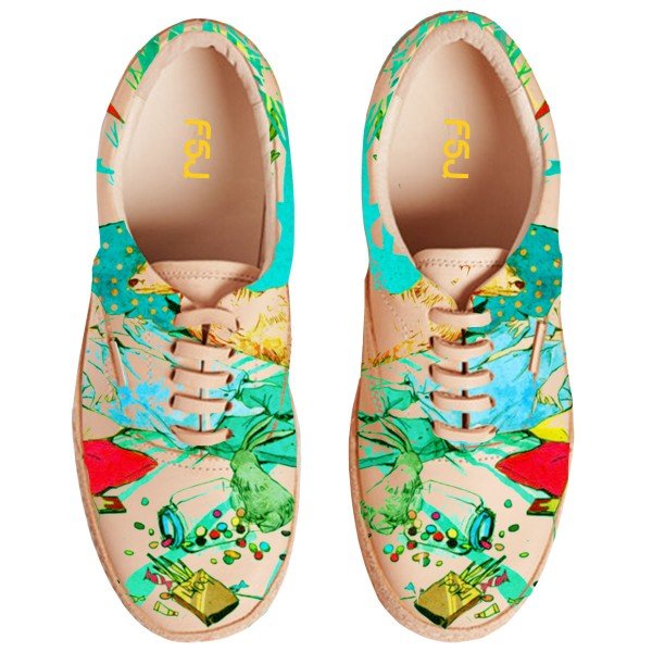 Women's Colorful Printed Sneakers Lace-Up Comfortable Flats  image 4