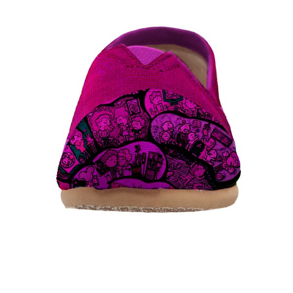 Women's Fuchsia Cartoon Printed Slip-on Comfortable Flats  image 3