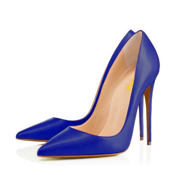 Cobalt Blue Shoes Office Heels Pointy Toe Stiletto Heel Pumps by FSJ image 1