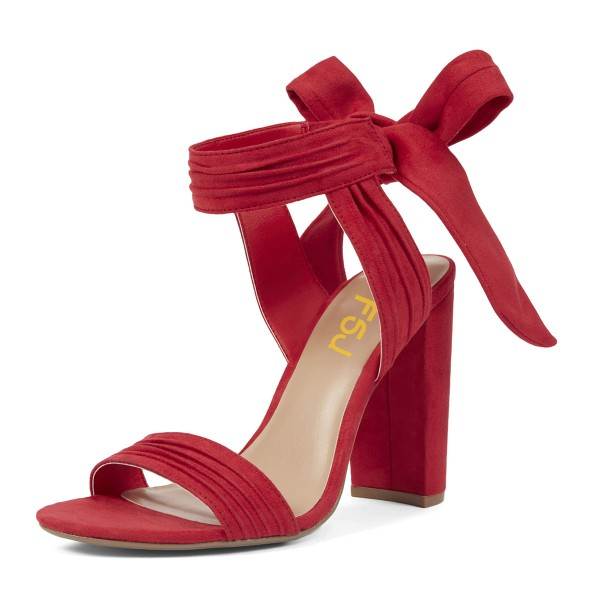 Red Block Heel Sandals Suede Prom Shoes image 1