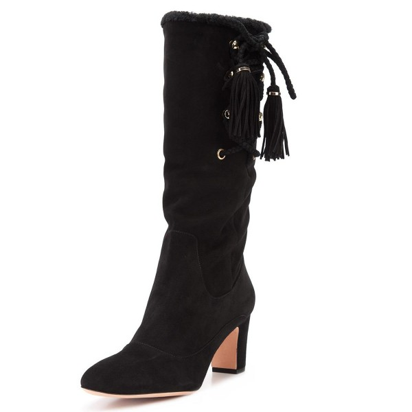 Black Chunky Heel Boots Suede Mid-calf Boots with Tassels image 1