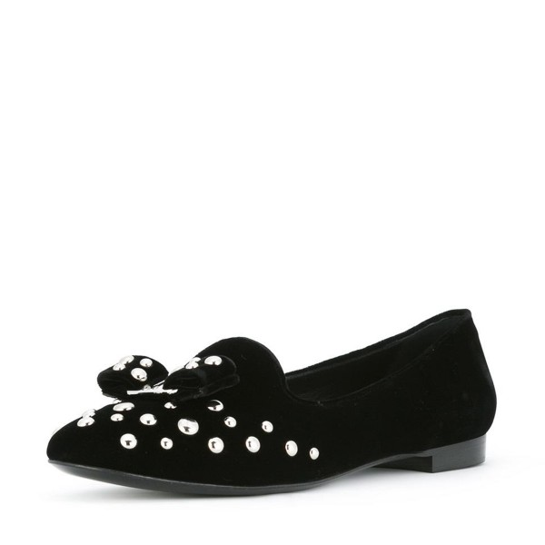 Black Studs Shoes Suede Round Toe Bow Flats by FSJ image 1