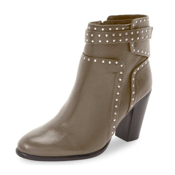Women's Brown Silver Studs  Ankle Boots Comfortable Shoes image 1