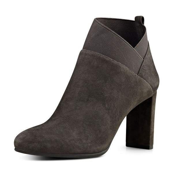 Dark Brown Chelsea Chunky Heel Boots Suede Ankle Booties for Ladies image 1