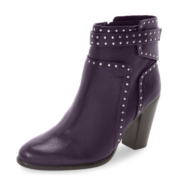 Women's Purple Chunky Heel Boots Round Toe Rivets Studded Ankle ...
