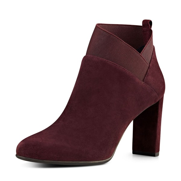 Burgundy Suede Boots Chunky Heel Fashion Short Boots US Size 3-15 image 1