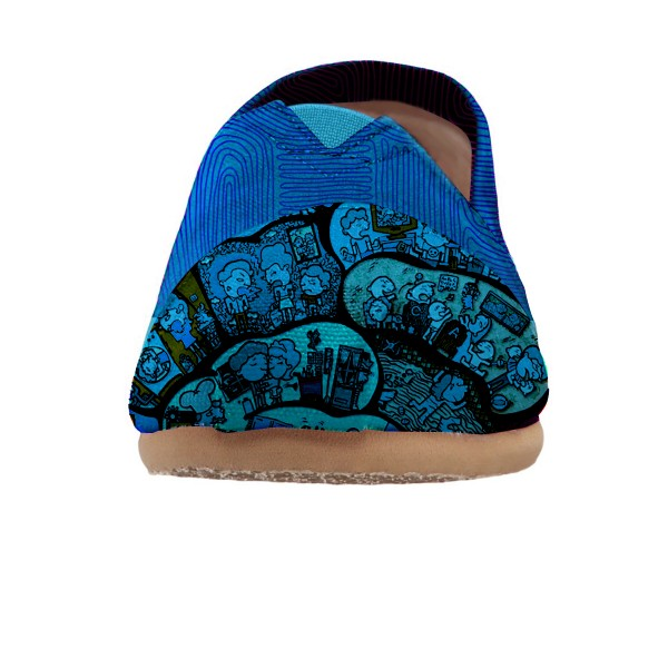 Women's Blue Cartoon Printed Slip-On Comfortable Flats image 3