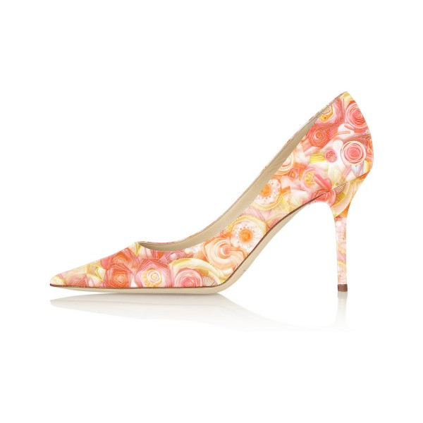 Orange Floral Heels Pointy Toe 3 Inch Stilettos Pumps image 4