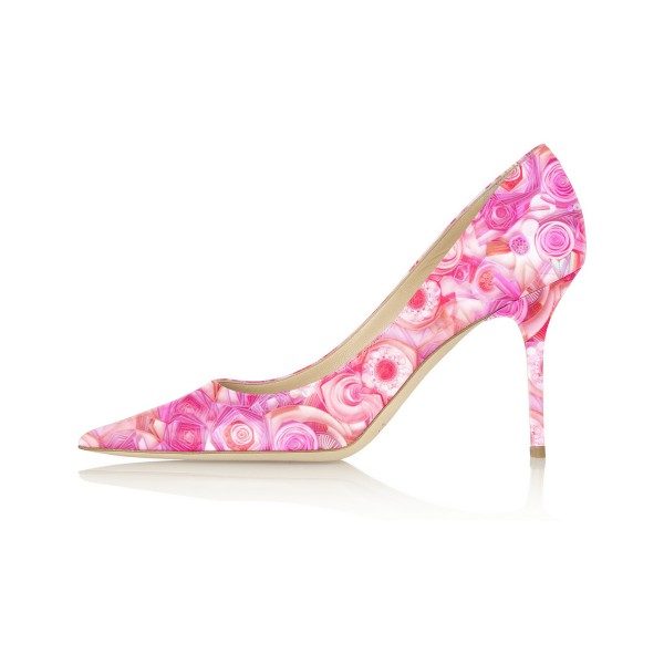 4 inch Heels Pink Floral Heels Pointy Toe Formal Stiletto Heel Pumps image 2