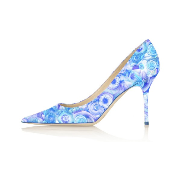 Women's Esther Blue Floral Heels Stiletto Heel Pumps image 2