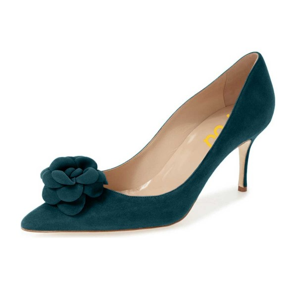 Dark Green Suede Shoes Pointy Toe Stiletto Heel Pumps with Flower image 1