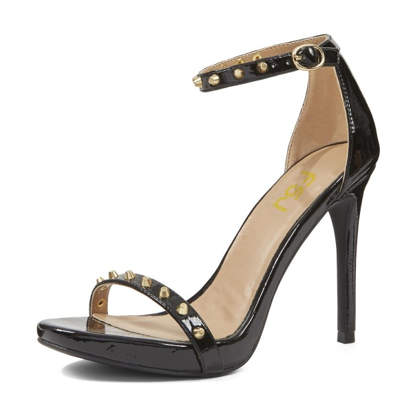 Women's Leila Black Golden Studs Patent Leather Open Toe Stiletto Heel  Ankle Strap Sandals image 1