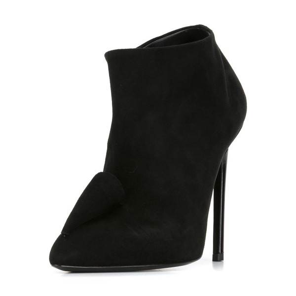 Black Short Boots Suede Pointy Toe Stiletto Heel Ankle Booties image 1