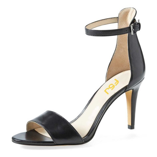 Women's Black Open Toe Stiletto Heels Ankle Strap Sandals image 1