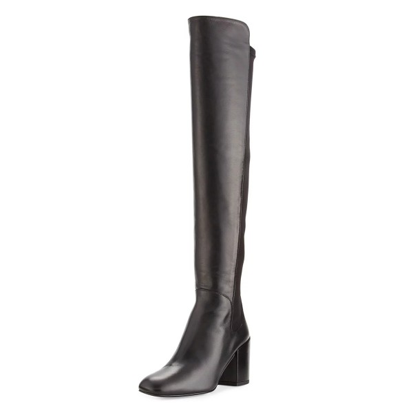 Black Over-the-Knee Long Boots Square Toe Block Heels Boots image 1