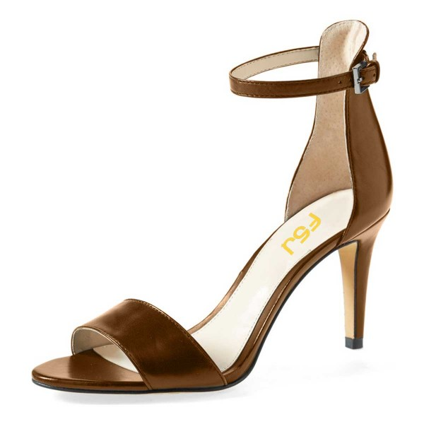 Dark Chocolate Ankle Strap Sandals Open Toe Office Heels image 1