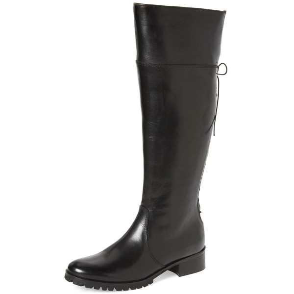 Black Fashion Boots Round Toe Flat Riding Boots image 1