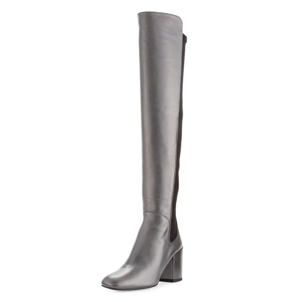 Silver Square Toe Boots Block Heel Over-the-Knee Long Boots image 1