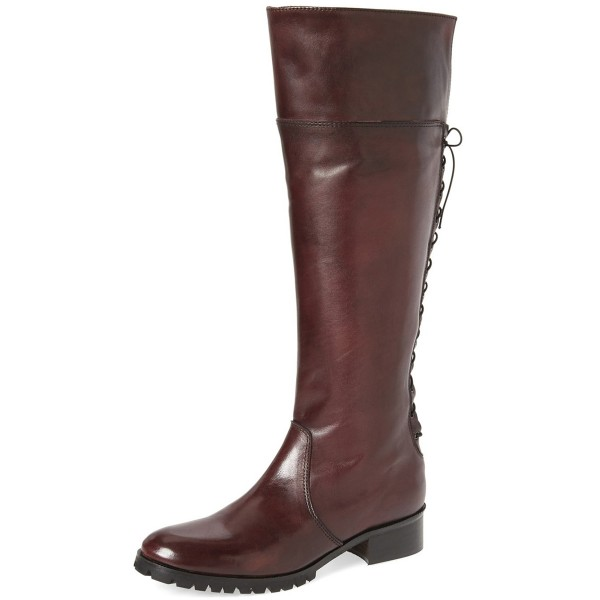 Dark Brown Fashion Boots Round Toe Flat Riding Boots image 1