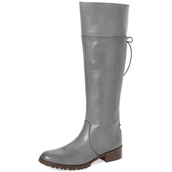 Grey Fashion Boots Round Toe Flat Knee-high Riding Boots image 1