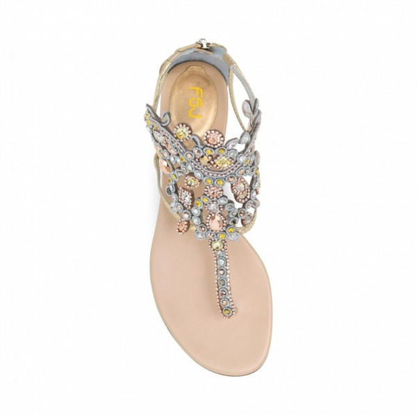 Gold Flip-Flops Wedding Sandals with Colorful Rhinestones image 3