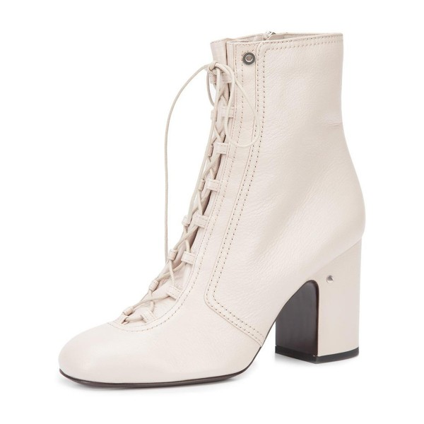 2019 Fall Ivory Chunky Heel Boots Lace up Round Toe Ankle Boots image 1