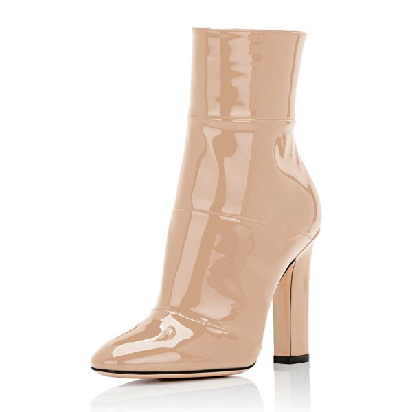 Women's Nude Chunky Heel Boots Pointy Toe Patent Leather Ankle ...