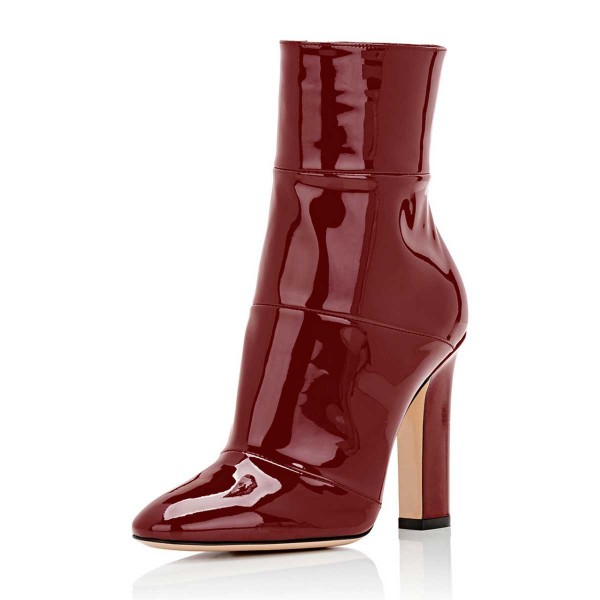 Red Chunky Heel Boots Patent-leather Ankle Booties for Work image 1