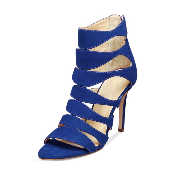 Women's Blue Suede Open Toe  Hollow-out Stiletto Heels  Sandals image 3