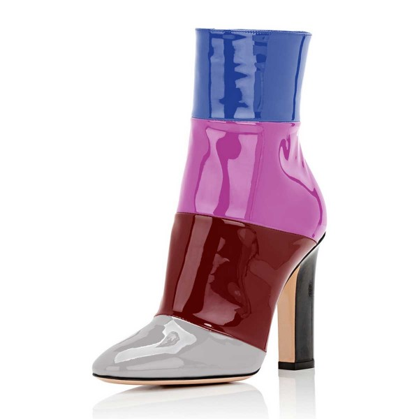 Multicolor Short Boots Patent Leather Chunky Heel Ankle Booties image 1