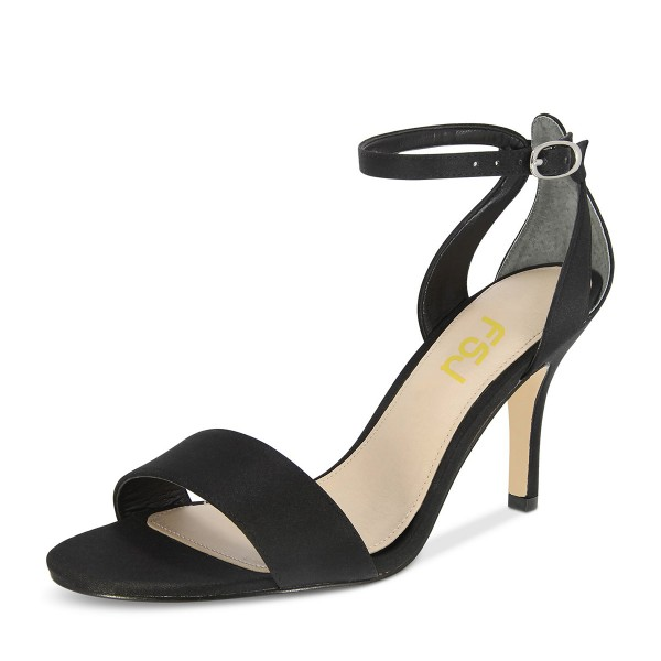 Black Satin Ankle Strap Sandals Open Toe Stiletto Heels image 1