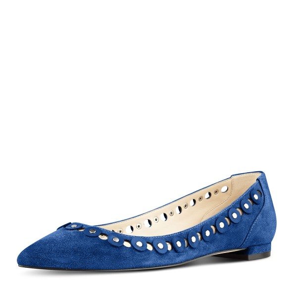Cobalt Blue Shoes Suede Pointy Toe Flats Studs Shoes by FSJ image 1