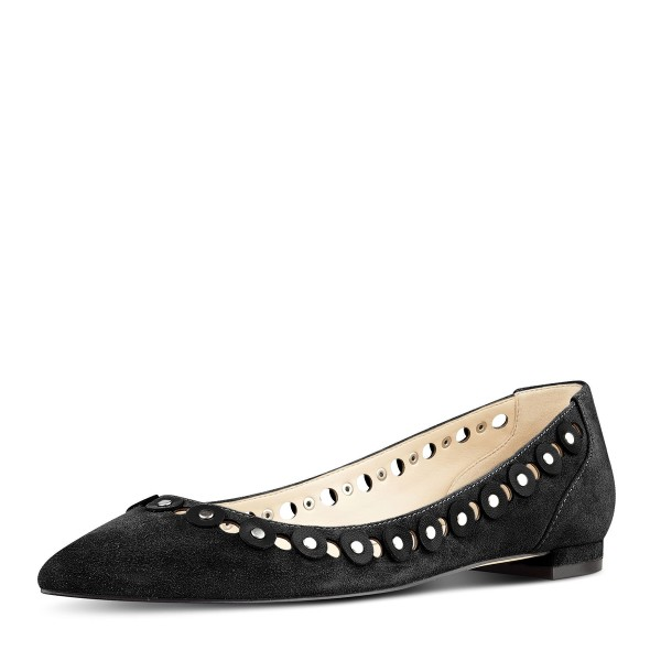Black Studs Embellishment Hollow out Pointy Toe Comfortable Flats image 1