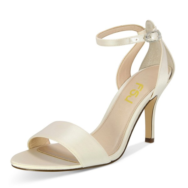 Beige Satin Stiletto Heels Open Toe Ankle Strap Sandals for Wedding image 1