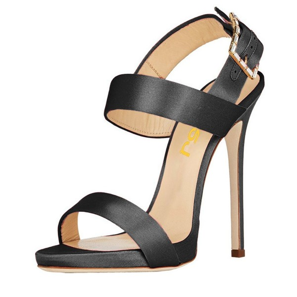 Black Satin Office Sandals Slingback Heels Sandals for Work image 1