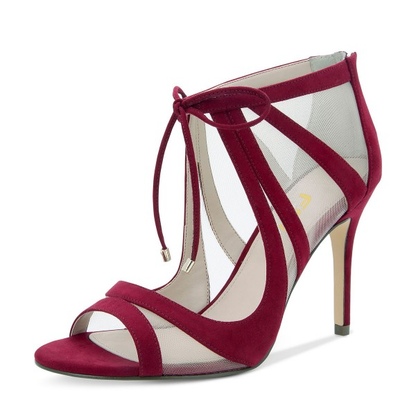 Burgundy Lace up Sandals Mesh Peep Toe Suede Stiletto Heels  image 1