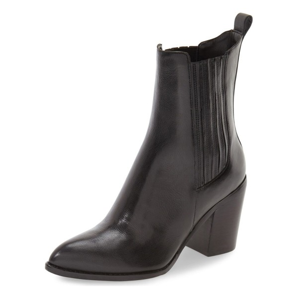 Black Block Heel Boots Pointy Toe Commuting Chelsea Boots image 1