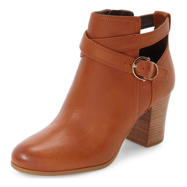 Women's Brown Straps Buckle Chunky Heels Ankle Boots image 1