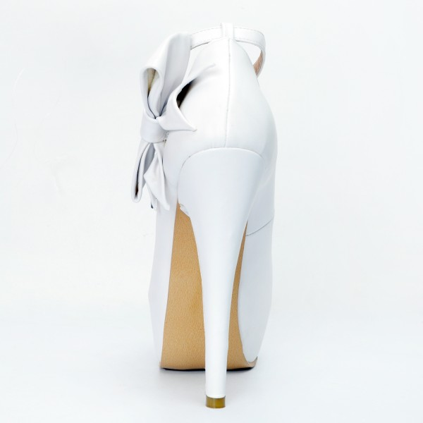 White Ankle Strap Heels Peep Toe Platform Pumps with Bow image 2