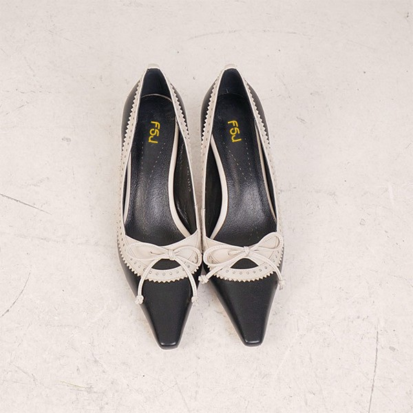 Women's Black Pointed Toe Vintage Kitten Heels Pumps Shoes image 3