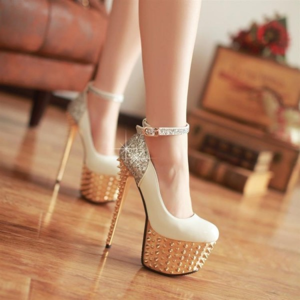 Ivory and Gold Stripper Heels Glitter Ankle Strap Platform Prom Shoes image 2