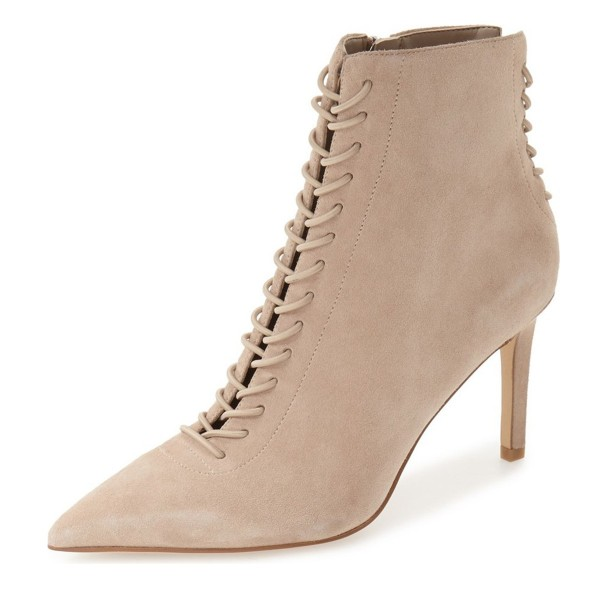 Beige Lace up Boots Pointy Toe Stiletto Heel Ankle Booties image 1