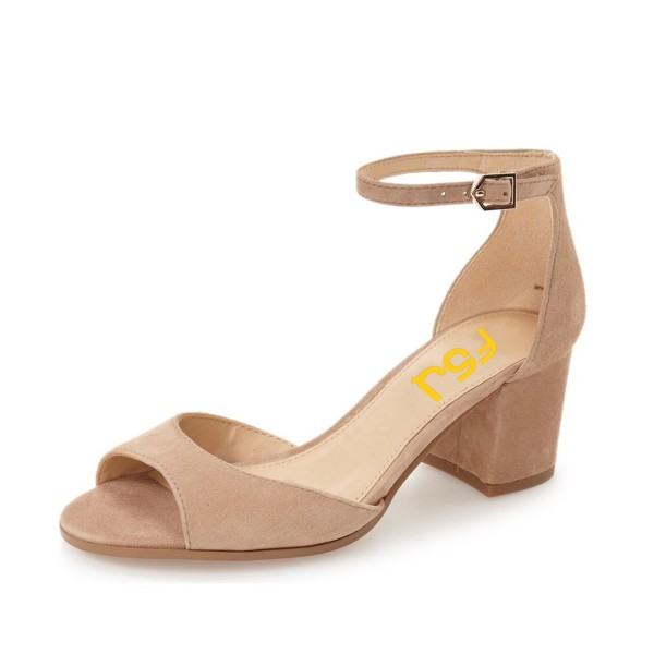 Nude Soft Suede Ankle Strappy Sandals image 1