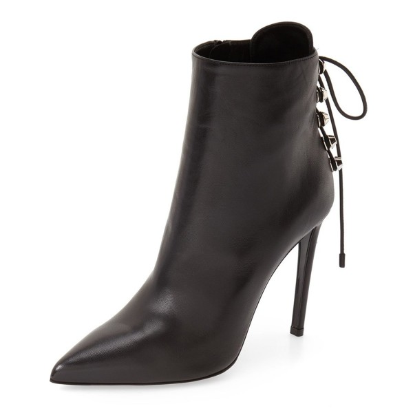 Black Stiletto Boots Pointy Toe Back Lace up Booties with Silver Studs image 1